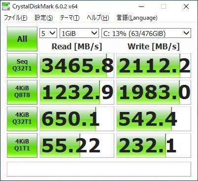 ドスパラ ガレリアXF2070SUPER SSDベンチ