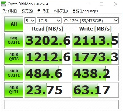 ガレリアZG|SSDベンチ
