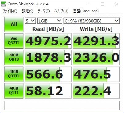 G-Tune HN-A|SSDベンチマーク