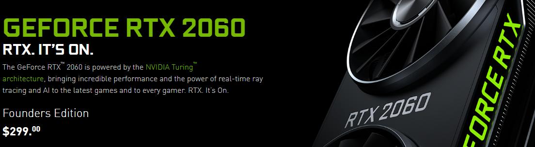 RTX2060|50ドル値下げ