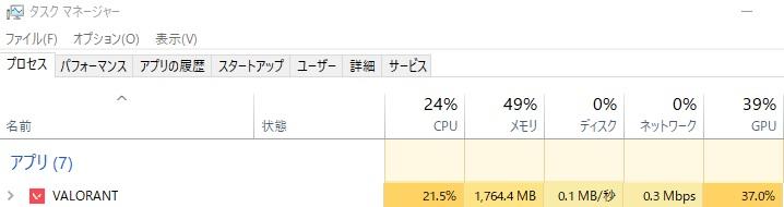 VALORANT|CPU|メモリ|負荷