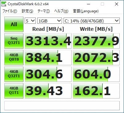 ガレリアXA7C-R70S|ベンチマーク|SSD