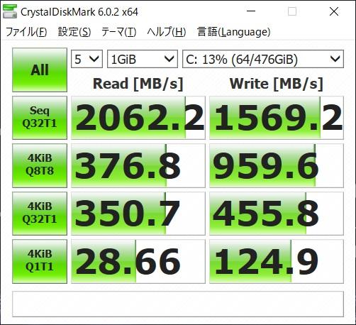 G-tune E5-144 ベンチマーク SSD