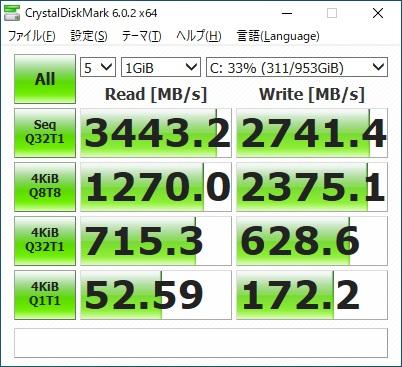 ガレリアZA9C-R39 ベンチマーク SSD
