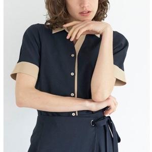 バイカラー半袖シャツ
