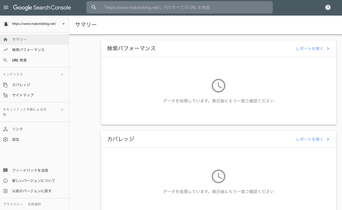 Google Search Console 処理待ち画面