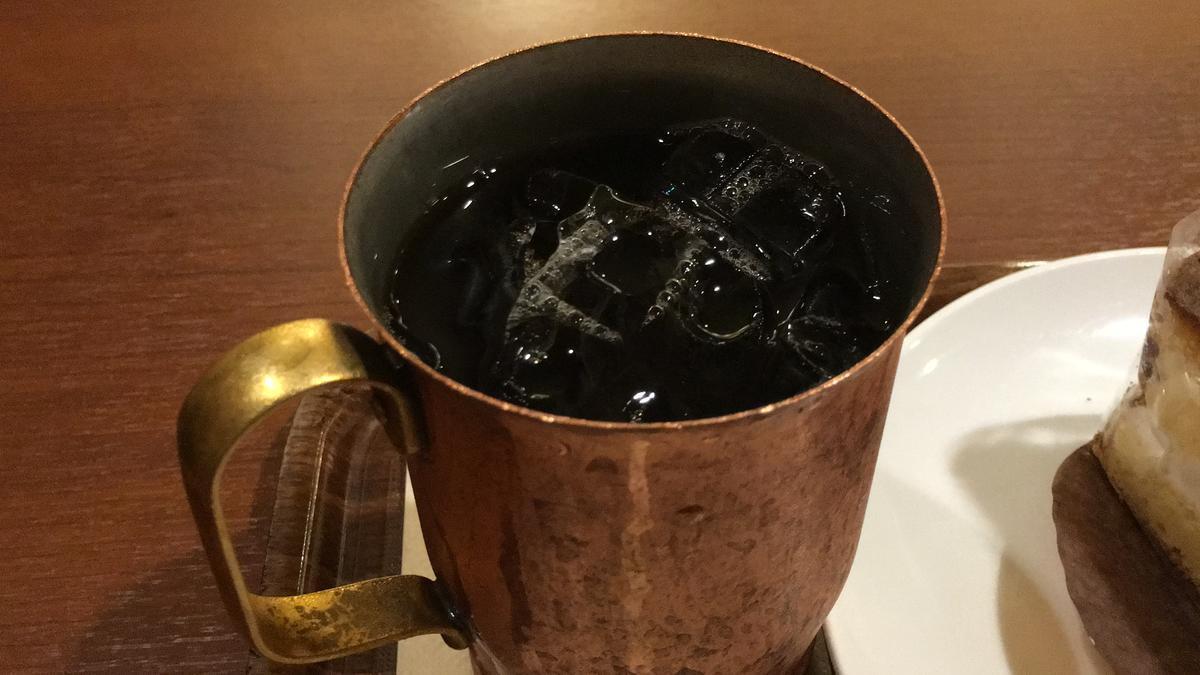 上島珈琲店のケーキセット、アイスコーヒー