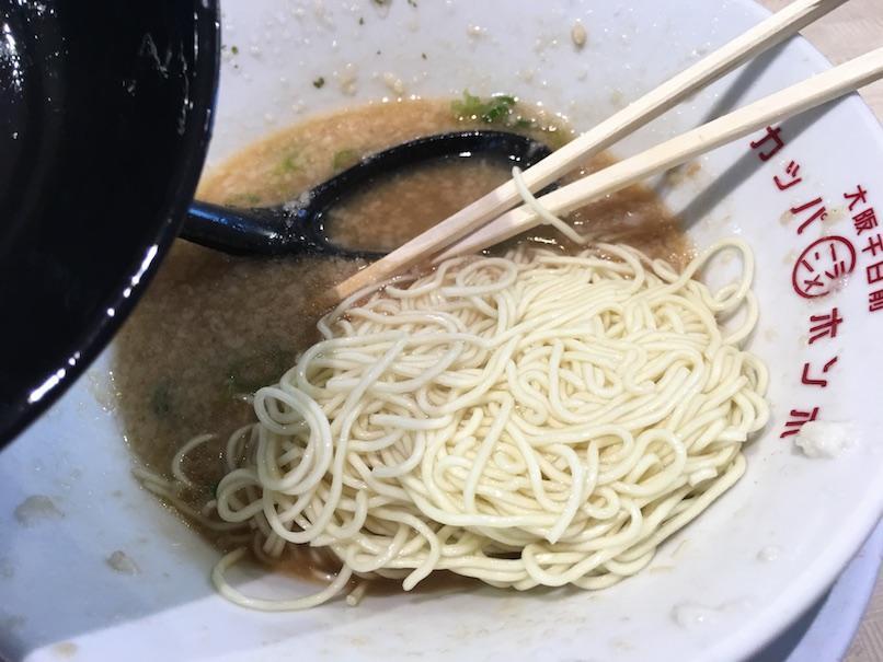 替え玉をスープに入れた