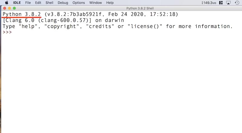 Python付属のIDLE(統合開発環境)を立ち上げる