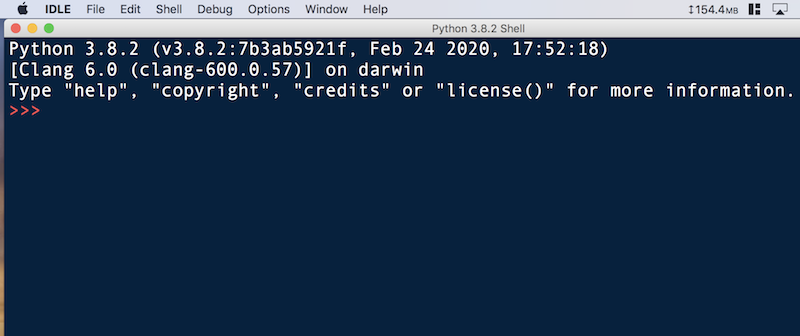 IDLE Darkに変更後のPython3.82