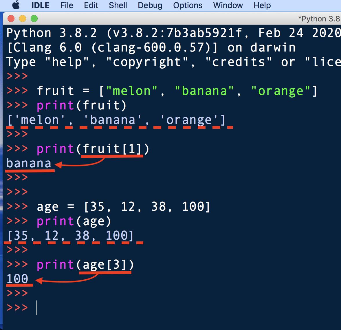 Pythonの対話モードでリストの復習