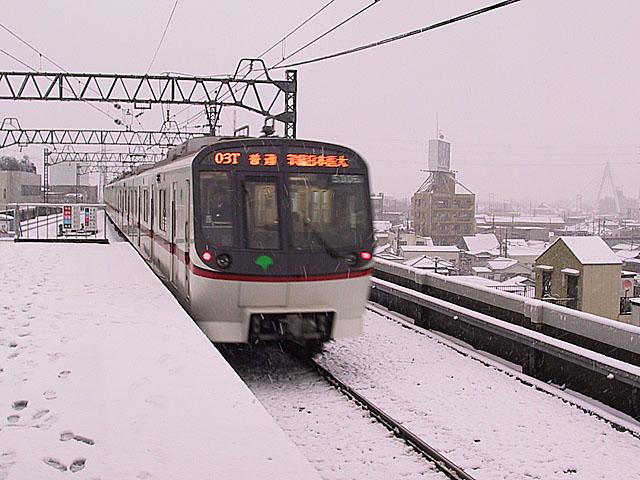 雪の青砥駅
