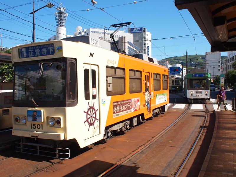 出島駅での長崎市電