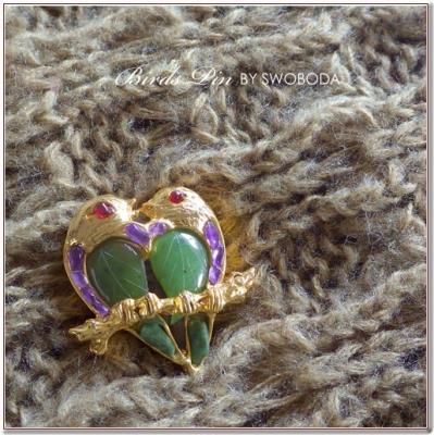 ハートの鳥のビンテージブローチ  SWOBODA(スワボダ)