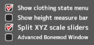 XYZ scale sliders