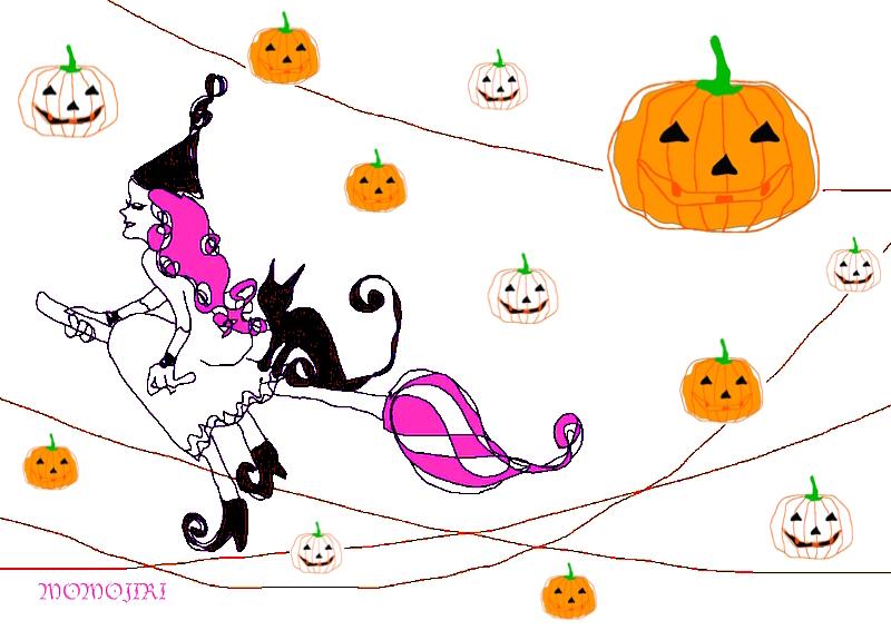 ハロウィンの箒に乗った魔女と猫とかぼちゃのジャックオーランタン