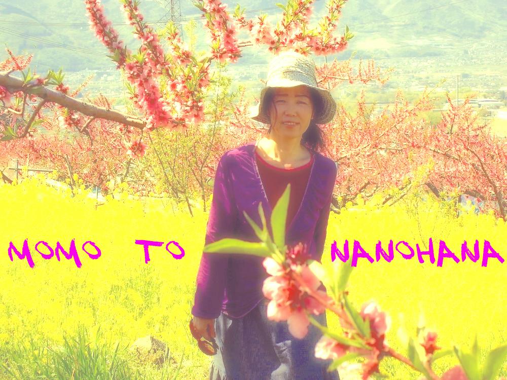 桃の花となの花畑にたたずむ女性は桃尻