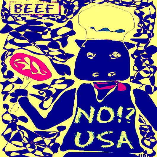 擬人化した牛が肉を持っているイラスト青黄バージョン