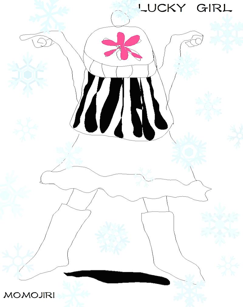 雪の結晶が降る、後ろ姿の女の子のイラスト
