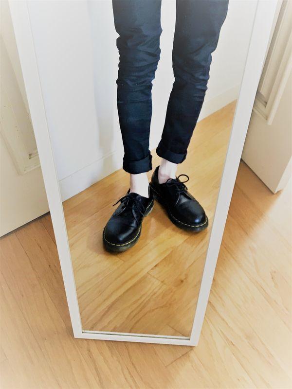 ユニクロ ベリーショートソックス 革靴