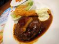 [食][ファミレス][ガスト] フレンチフォアグラハンバーグ&海老フライ バルサミコソース