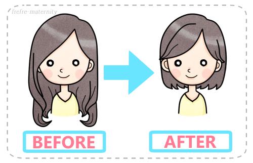髪型ビフォーアフターのイラスト