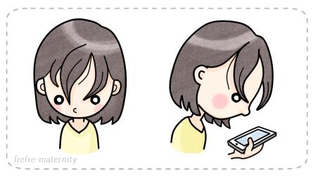 前髪が垂れてしまっている女性のイラスト