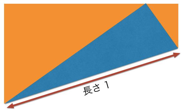折り紙の折り目の長さが1であることを明示した図