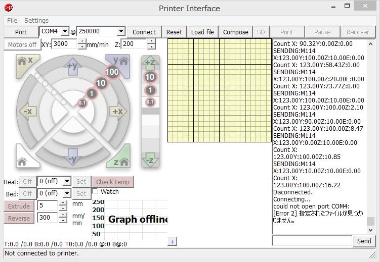 3Dプリンタのモータを制御するためのソフト