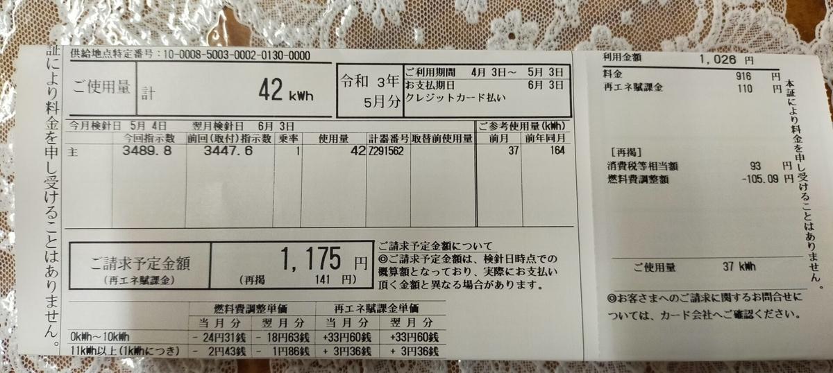 沖縄電力5月請求分電気代1175円42KWh