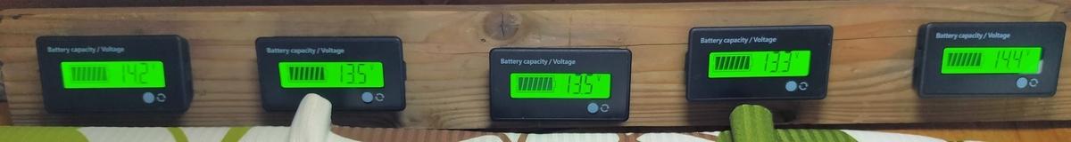 発電モニター左から①14.2V/②13.5V/③13.5V/④13.3V/⑤14.4V