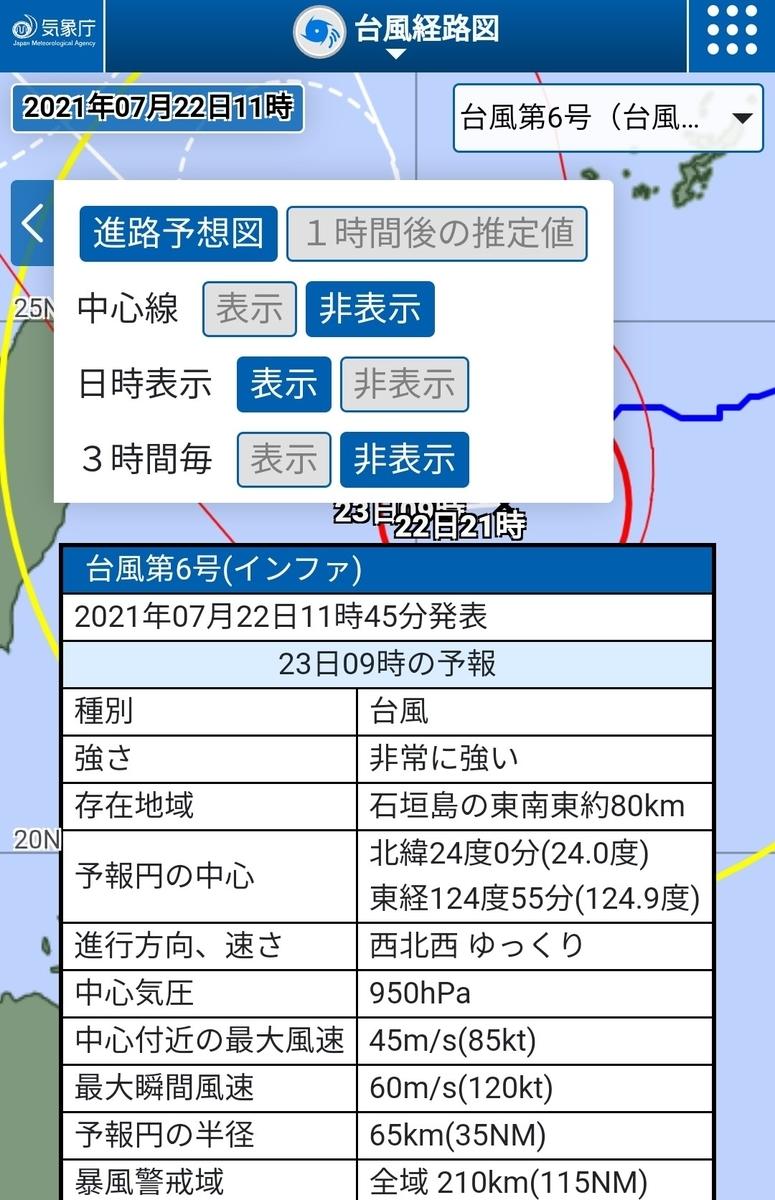 台風6号インファ7/23予測勢力