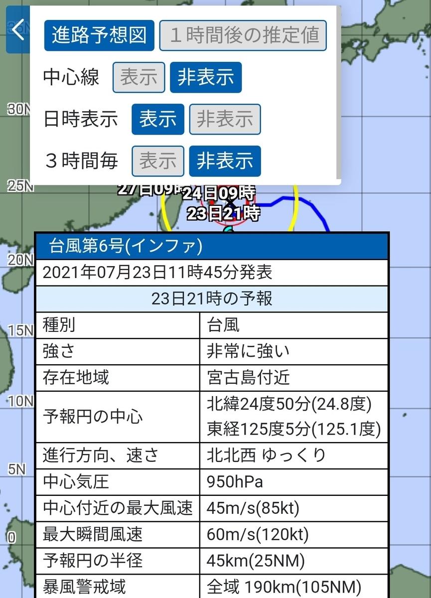 7/23正午台風6号インファ勢力