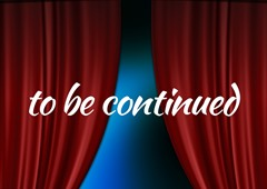 「続く」が出て幕が下りた舞台のイメージ