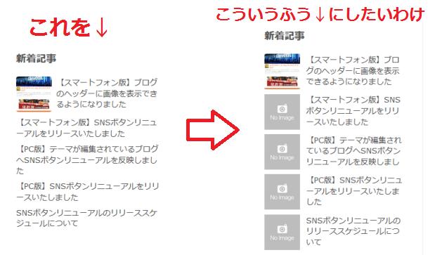 サイドバー記事リスト改造前と改造後のイメージ