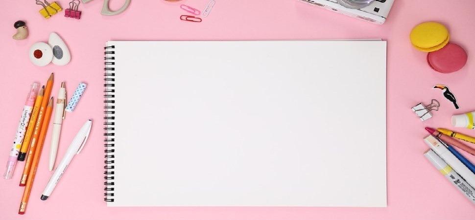 クリエイティブ女子のピンクデスクヘッダー