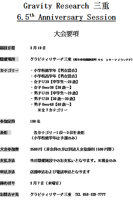 GR三重でコンペ開催だぜ!!!