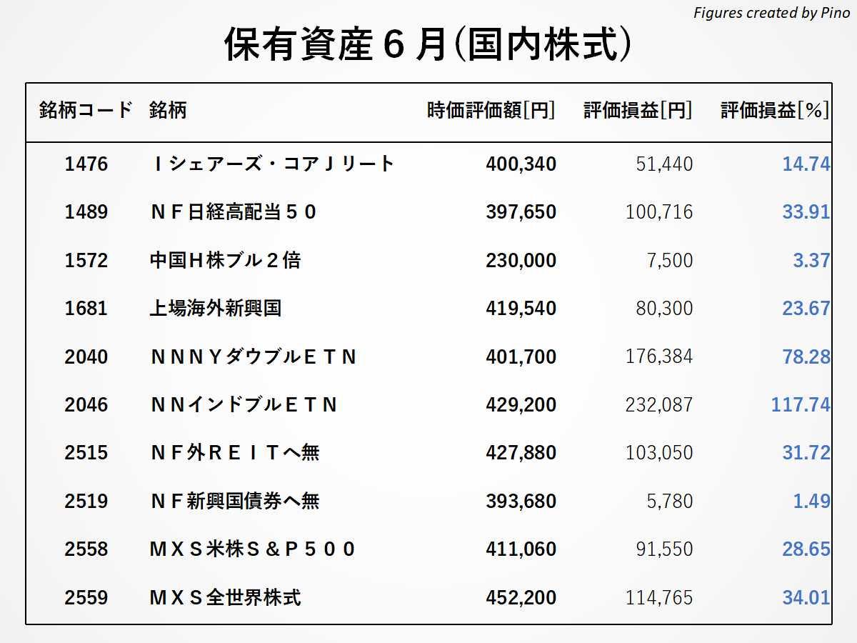 ぴのの保有銘柄(国内株式)2021年6月