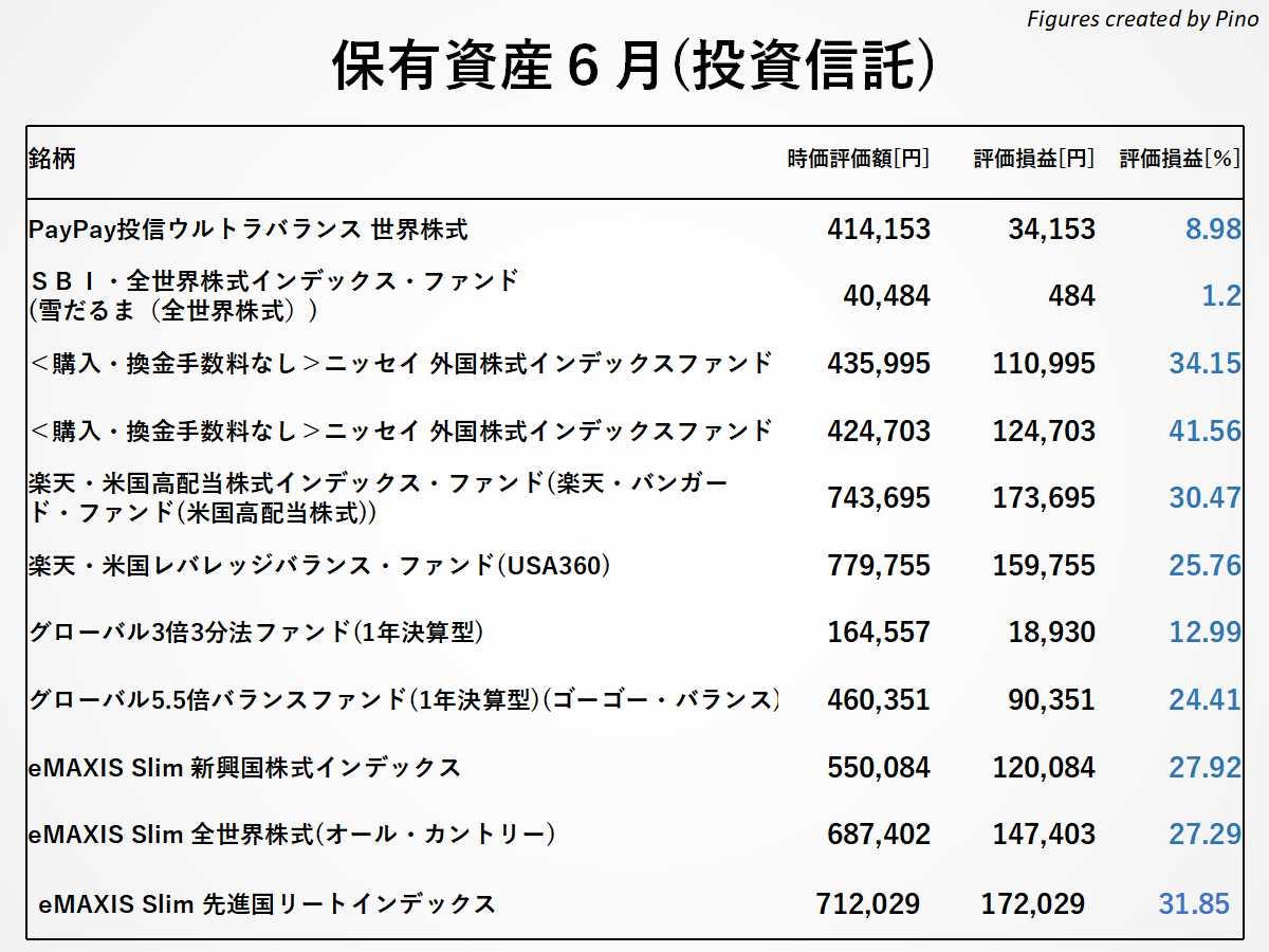 ぴのの保有銘柄(投資信託)2021年6月