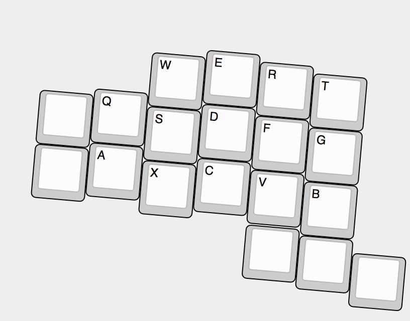 キーを少なくしたキー配列の図(左手のみ)
