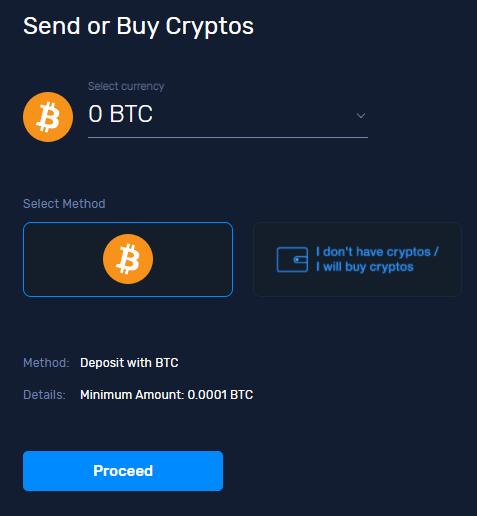 CryptoGTの英語表示。「Send or Buy Cryptos」で「Proceed」ボタンですね!