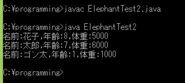 ElephantTest2.java実行結果