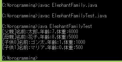 ElephantFamilyTest.java実行結果