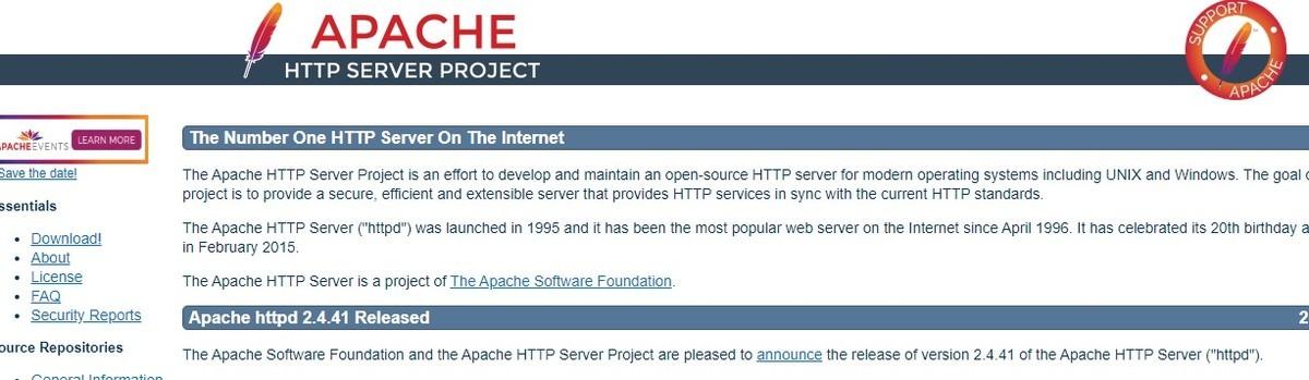 Apacheトップページ