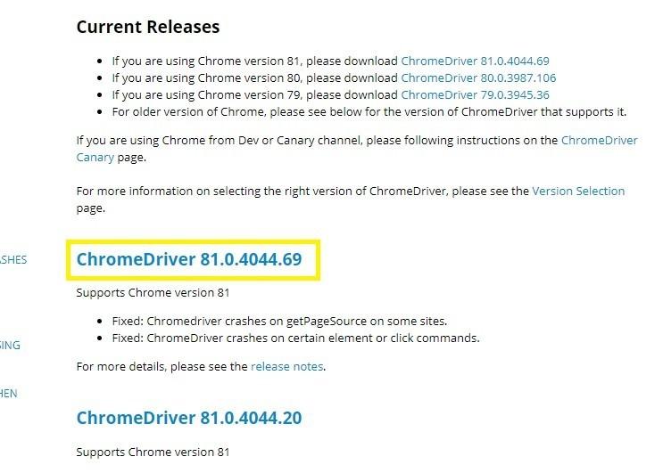 「ChromeDriver 81.0.4044.69」