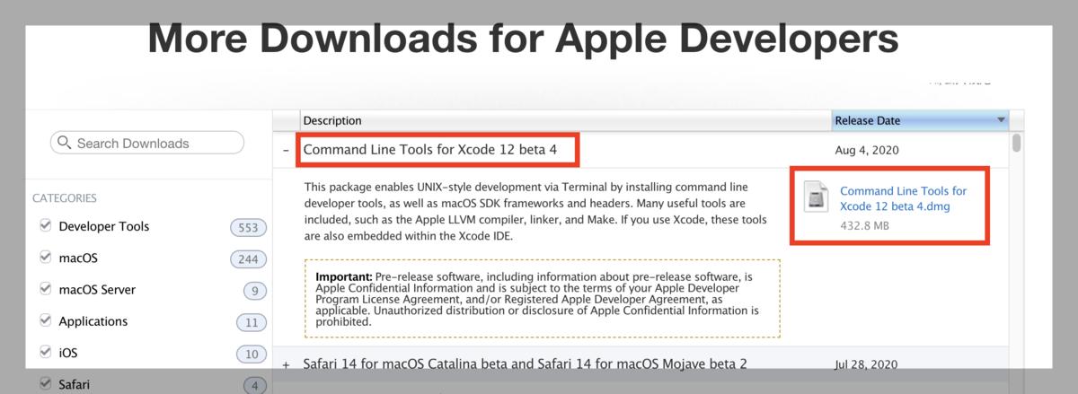「Command Line Tools for Xcode12 beta4.dmg」ファイルをダウンロード