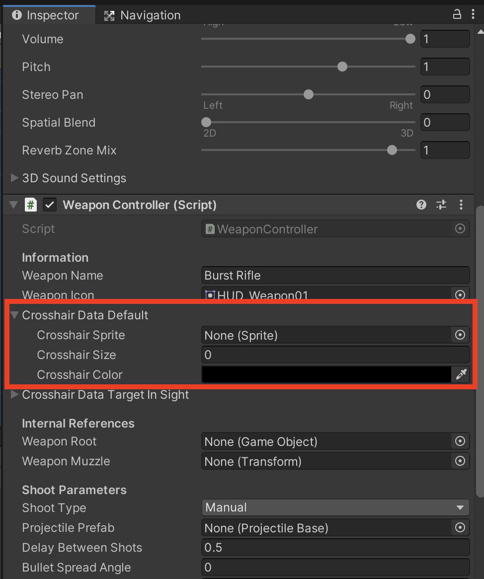 「Crosshair Data Default 」セクションを展開