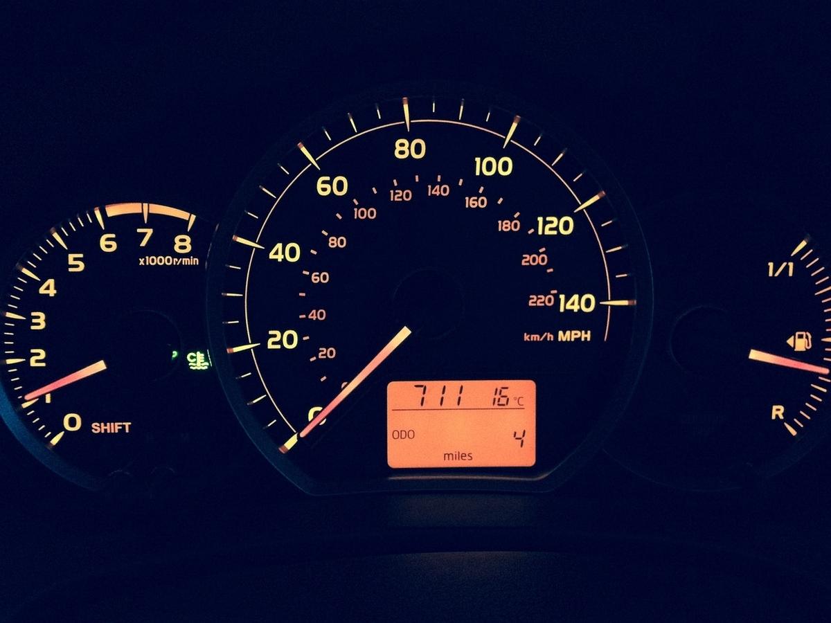 マイル表示のスピードメーター