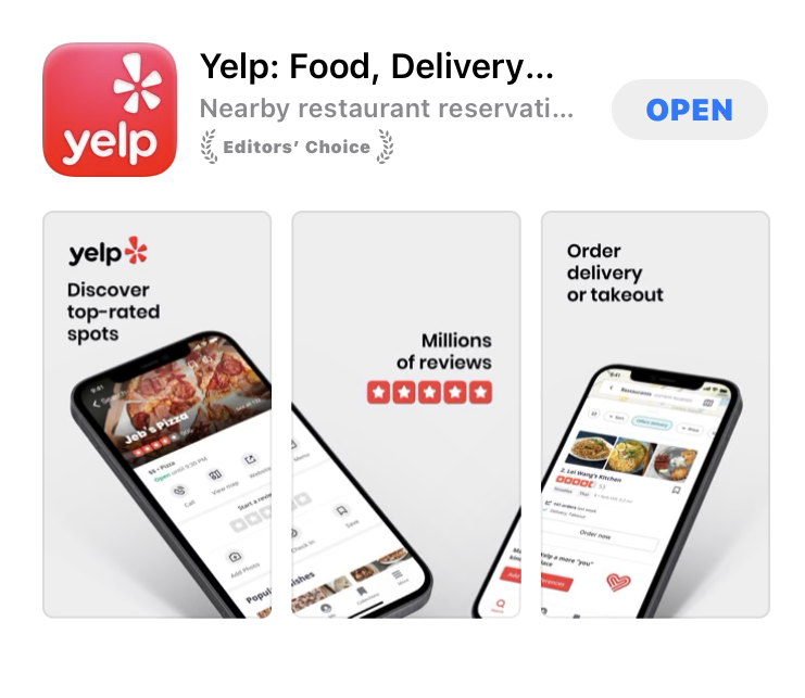 Yelpアプリ