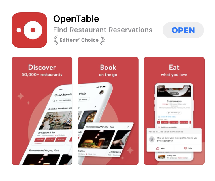 Open Tableアプリ